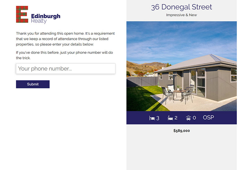 Edinburgh Realty Open Home System